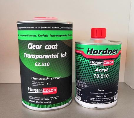 KonemColor 62.510 Transparentni lak otporan na ogrebotine, 1L i KonemColor 70.510 Herter akrilni standard, 500ml